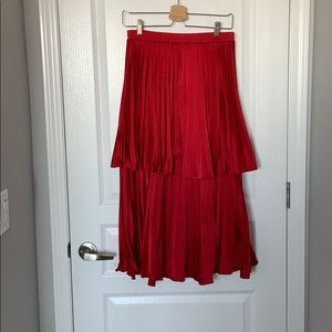 Red Satin Pleated Tiered Maxi Skirt